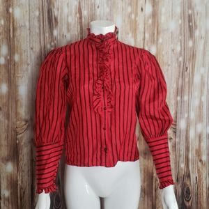 {vintage} Red & Black striped ruffled blouse